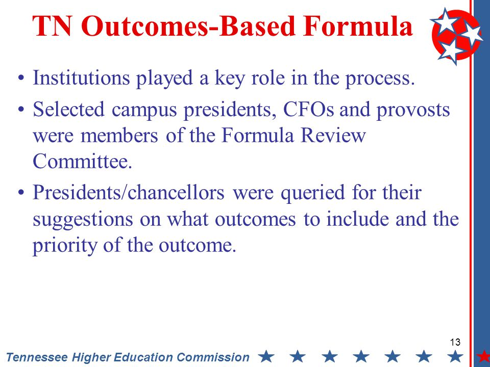 13 Tennessee Higher Education Commission TN Outcomes-Based Formula Institutions played a key role in the process.