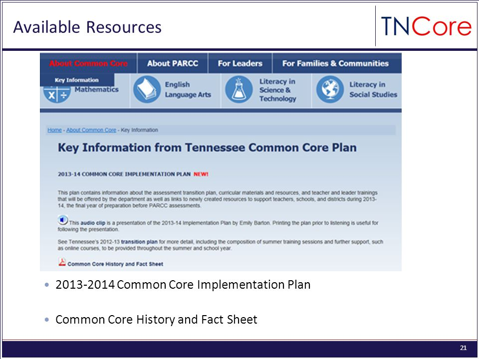 21 Available Resources Common Core Implementation Plan Common Core History and Fact Sheet