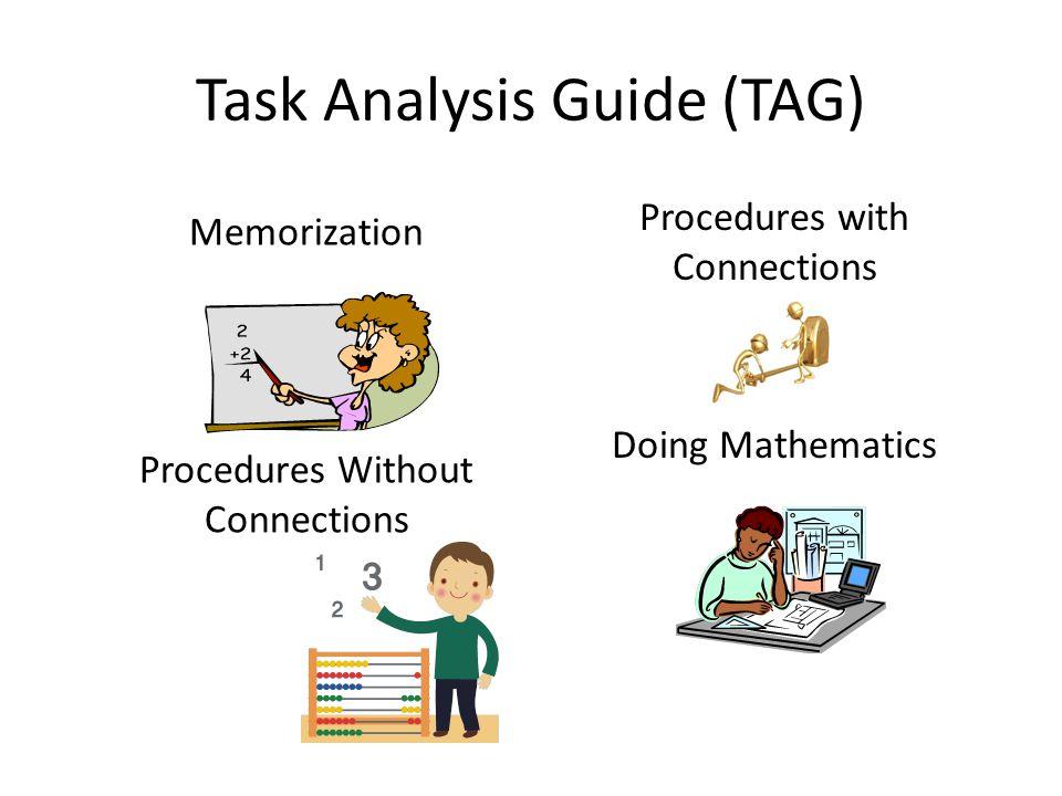 Task Analysis Guide (TAG) Memorization Procedures Without Connections Procedures with Connections Doing Mathematics