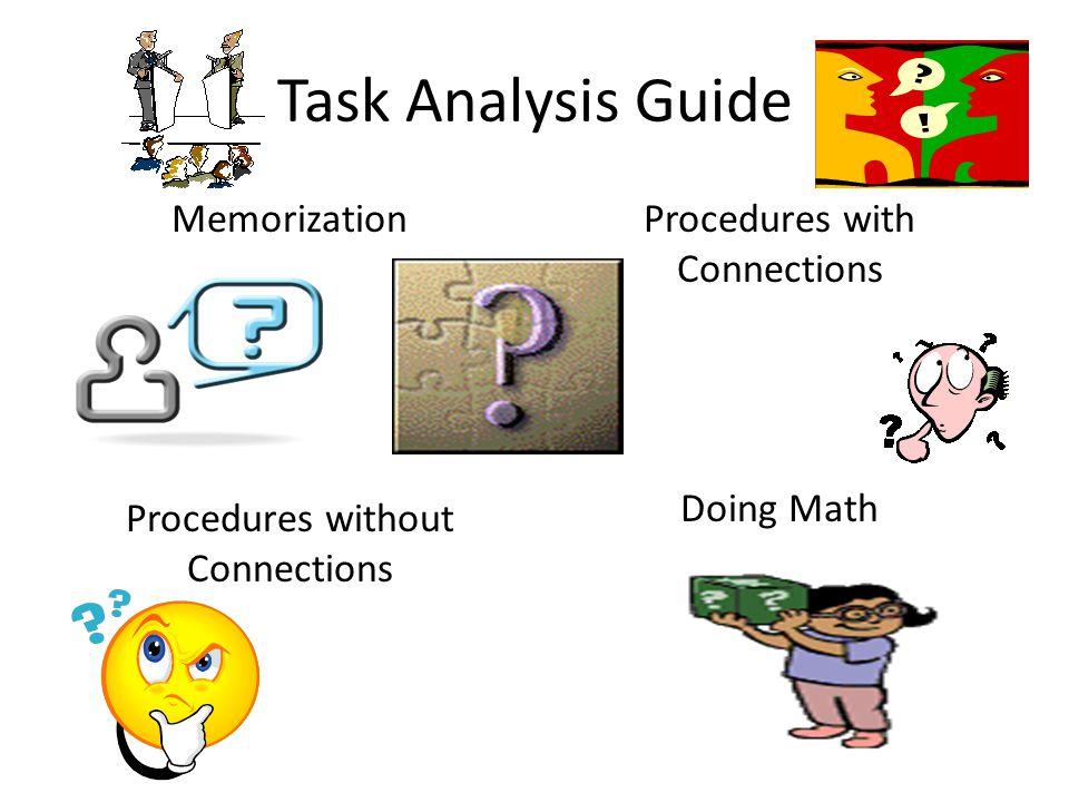 Task Analysis Guide Memorization Procedures without Connections Procedures with Connections Doing Math