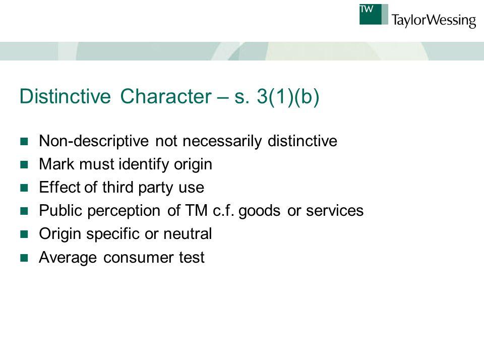 Distinctive Character – s.