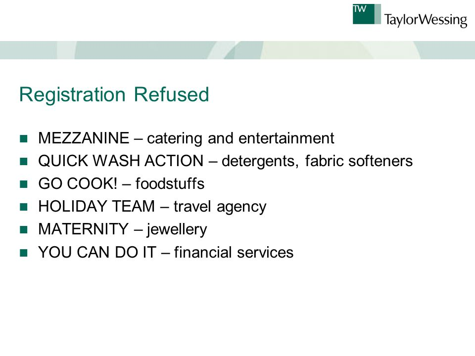 Registration Refused MEZZANINE – catering and entertainment QUICK WASH ACTION – detergents, fabric softeners GO COOK.