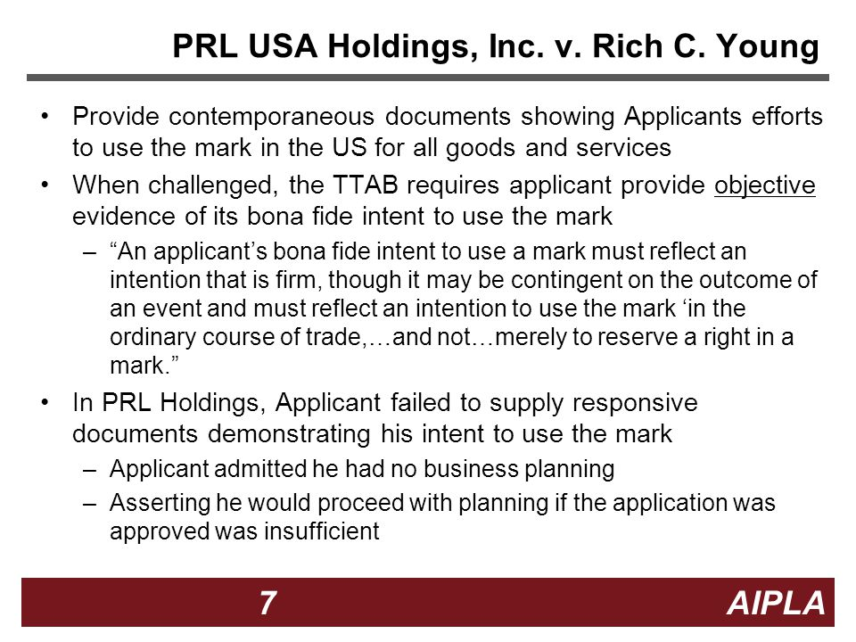 7 7 7 AIPLA Firm Logo PRL USA Holdings, Inc. v. Rich C.