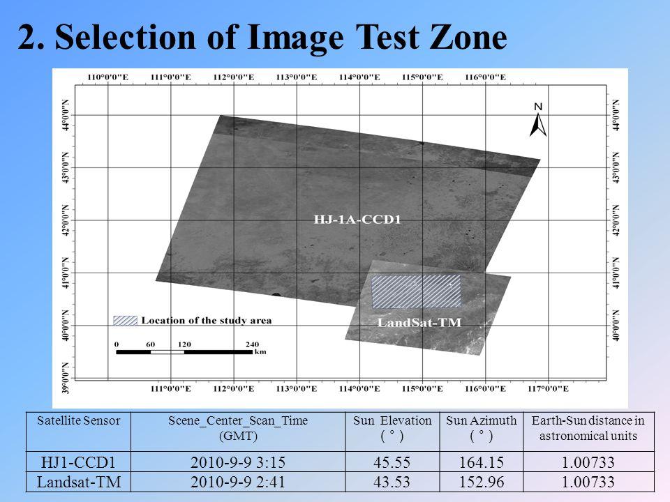 Satellite SensorScene_Center_Scan_Time (GMT) Sun Elevation ( ° ) Sun Azimuth ( ° ) Earth-Sun distance in astronomical units HJ1-CCD12010-9-9 3:1545.55164.151.00733 Landsat-TM2010-9-9 2:4143.53152.961.00733 2.