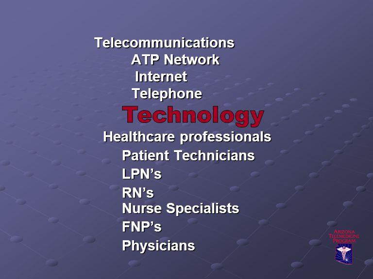 Telecommunications ATP Network Internet Telephone Healthcare professionals Patient Technicians LPN's RN's Nurse Specialists FNP'sPhysicians