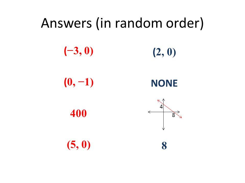Answers (in random order) ( −3, 0) ( 0, −1) 400 (5, 0) ( 2, 0) NONE 8 8 4