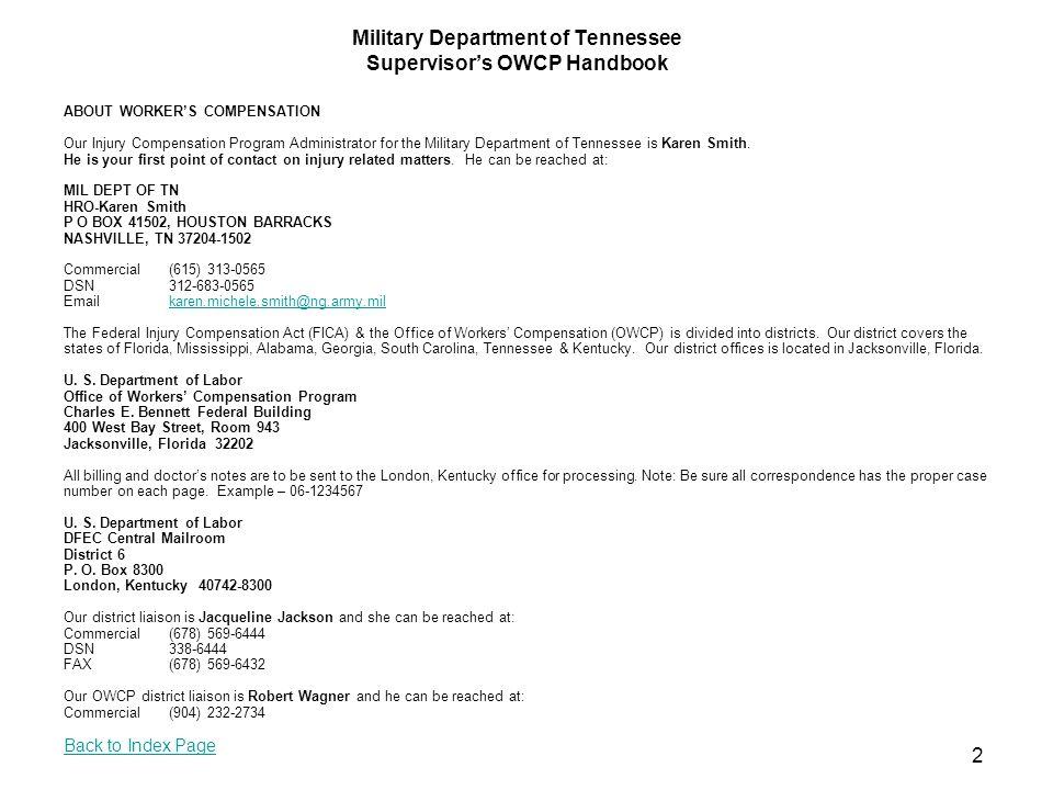 Supervisor Report 1 Tab Agency Address: Mil Dept of TN P O Box 41502 Nashville TN37204 Mil Dept of TN P O Box 41502 Nashville TN 37204 22 Back to Index Page