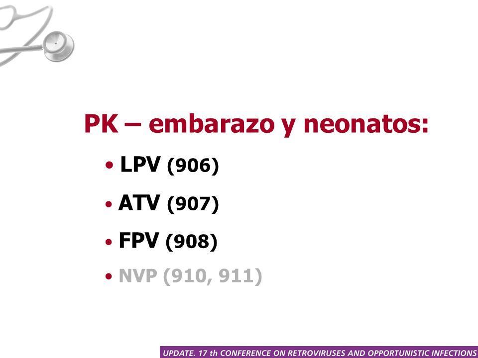 PK – embarazo y neonatos: LPV (906) ATV (907) FPV (908) NVP (910, 911)