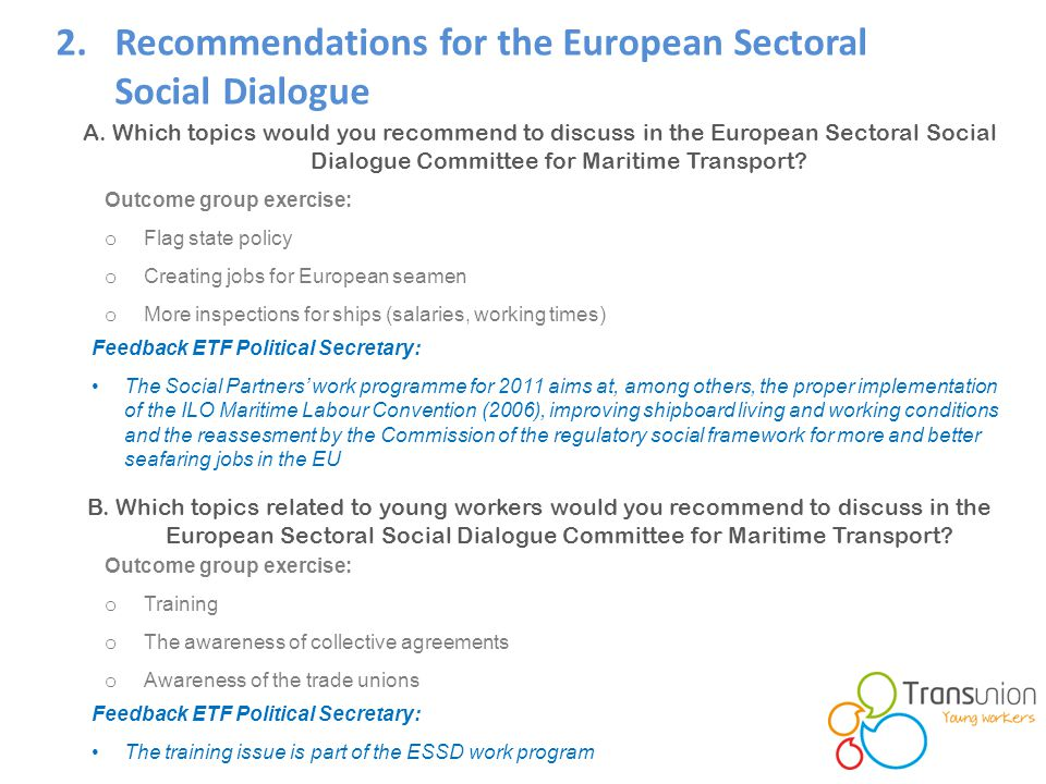 2.Recommendations for the European Sectoral Social Dialogue A.