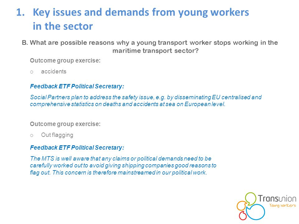 1.Key issues and demands from young workers in the sector B.
