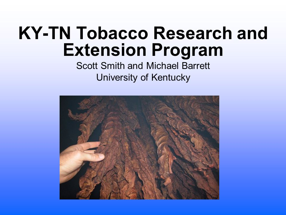 KY-TN Tobacco Research and Extension Program Scott Smith and Michael Barrett University of Kentucky