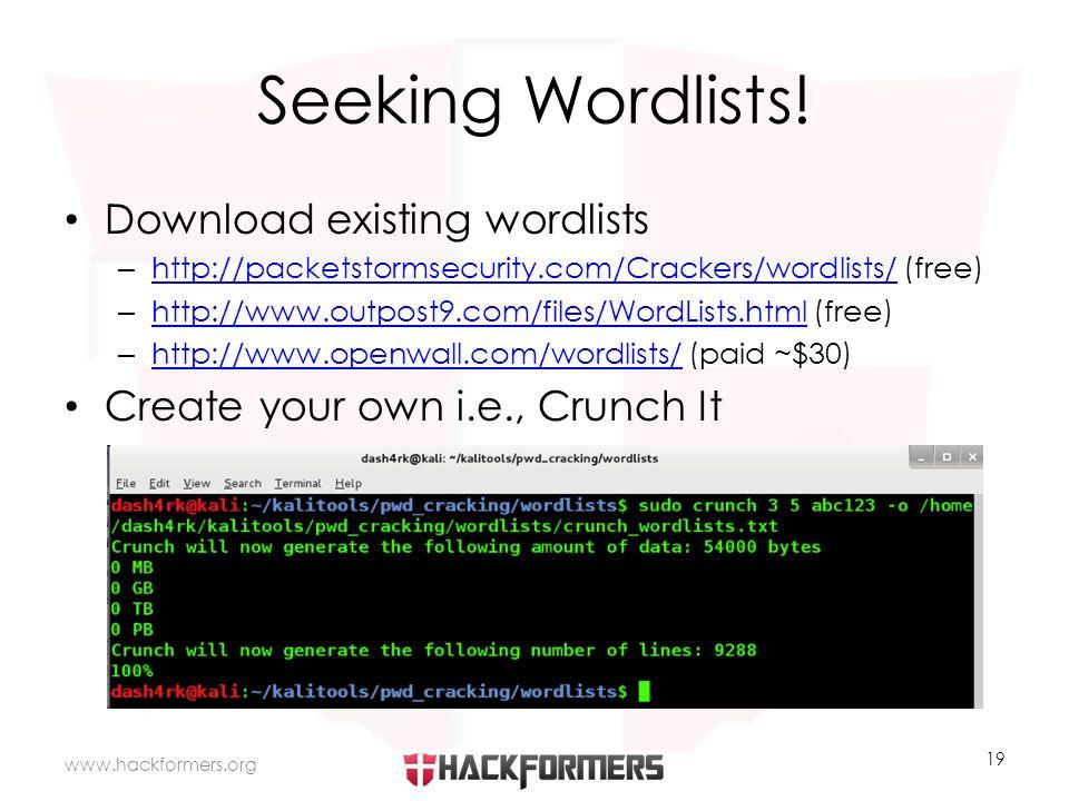 Seeking Wordlists.