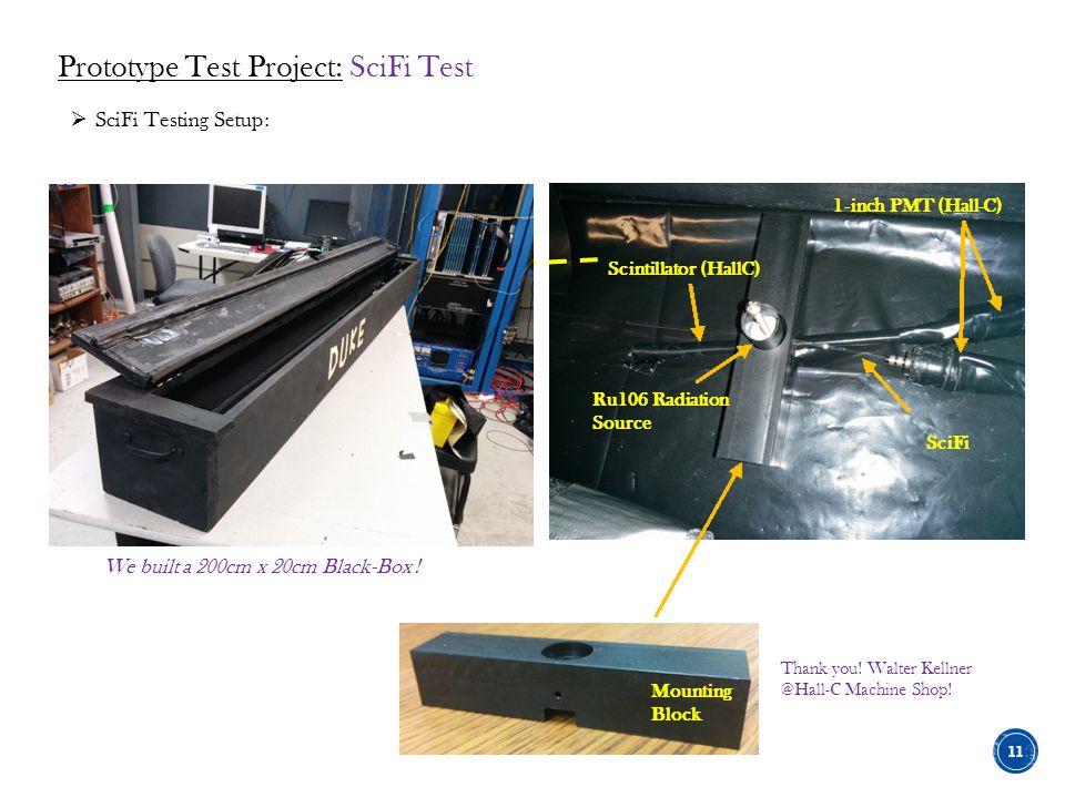 Scintillator (HallC) 1-inch PMT (Hall-C) SciFi Ru106 Radiation Source Mounting Block We built a 200cm x 20cm Black-Box !  SciFi Testing Setup: Thank