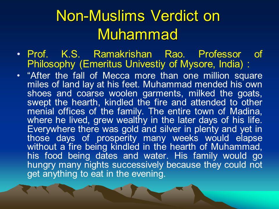 Non-Muslims Verdict on Muhammad Prof. K.S. Ramakrishan Rao.