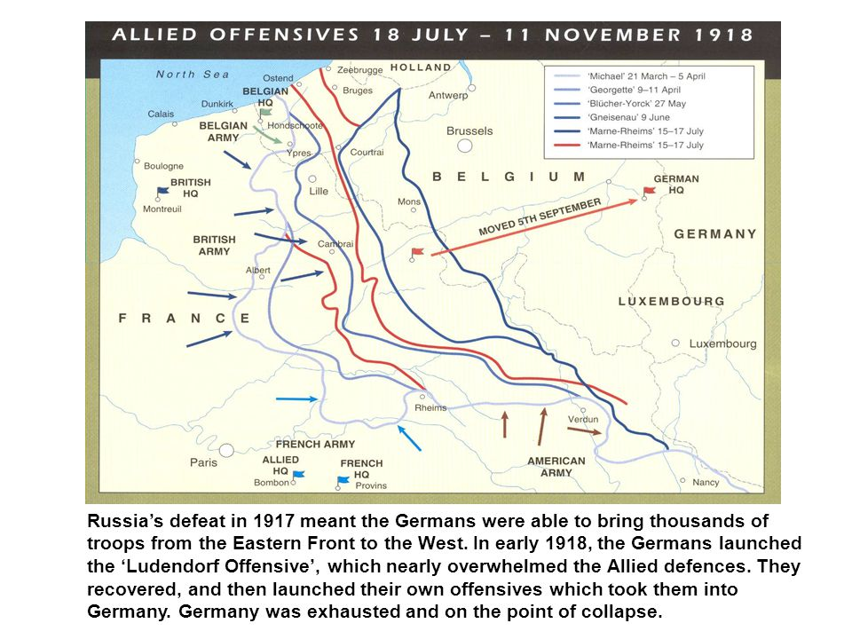 With the failure of the Ludendorf Offensive, and with the exhausted state of Germany, the German generals recognised that it was time to sue for peace with the Allies.