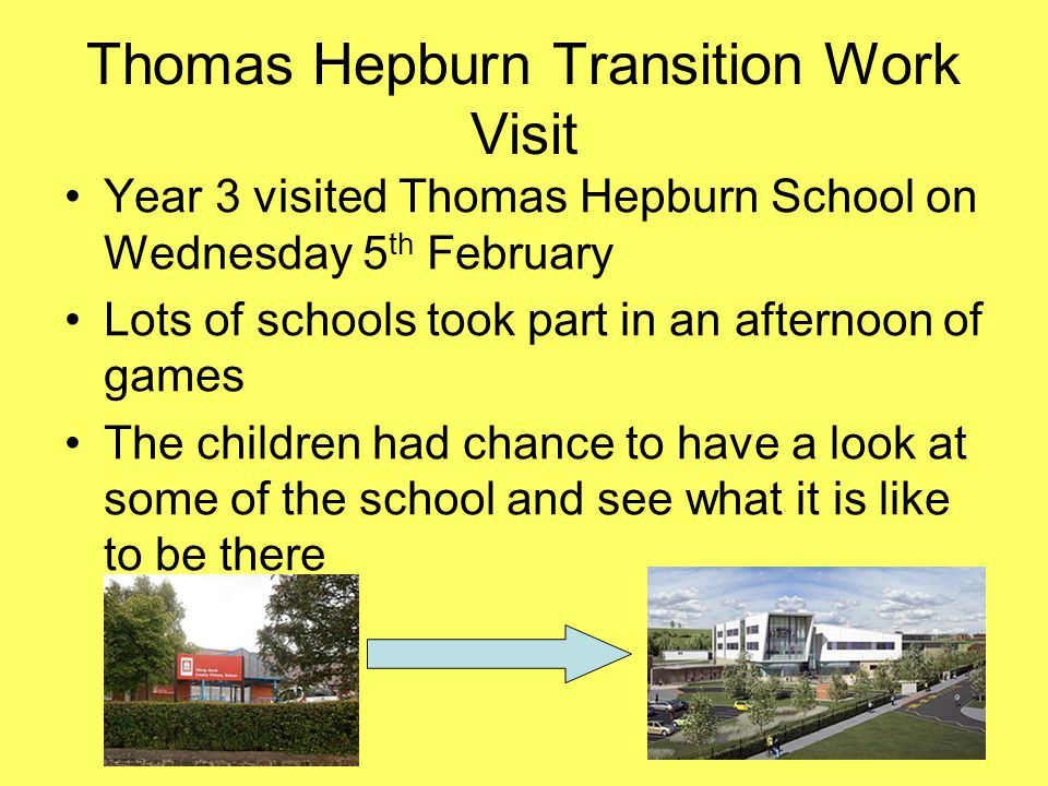 Thomas Hepburn Transition Work Visit Year 3 visited Thomas Hepburn School on Wednesday 5 th February Lots of schools took part in an afternoon of games The children had chance to have a look at some of the school and see what it is like to be there