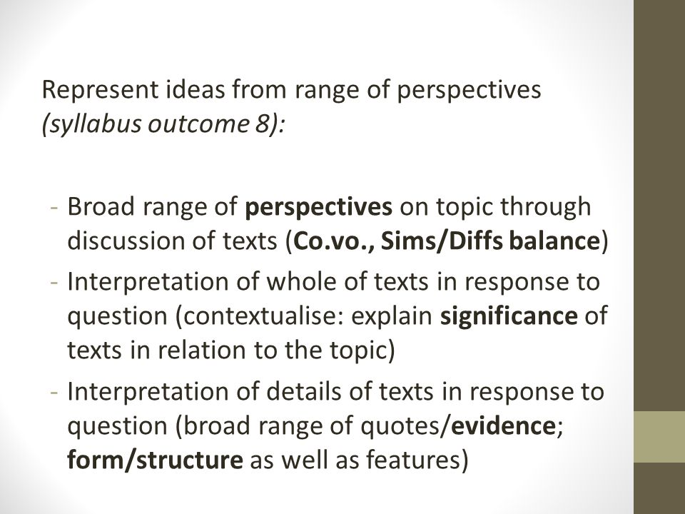 Control of language (syllabus outcome 11): -Structure: comparative essay -Choice of narrative perspective (composer or character) is relevant & wise -Characterisation is consistent -Voice established through tone & register -Style: feature article (drop in formality & objectivity… can be more personal/subjective/conversational than essay)
