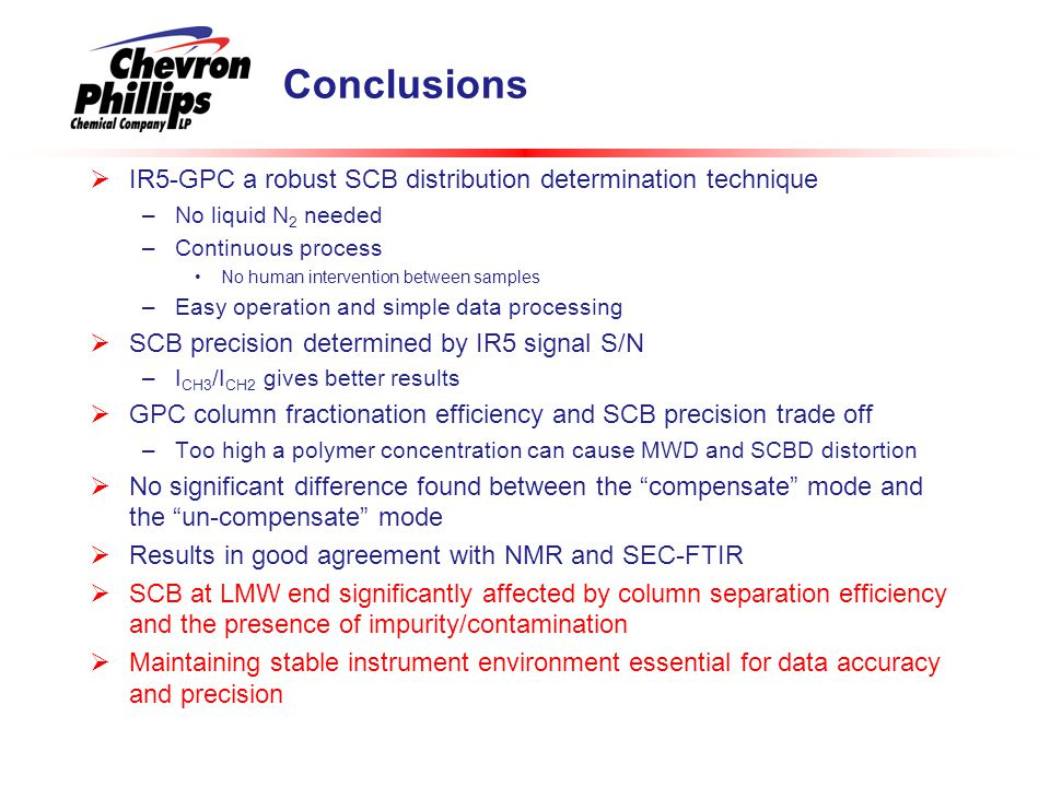 Conclusions  IR5-GPC a robust SCB distribution determination technique –No liquid N 2 needed –Continuous process No human intervention between sample