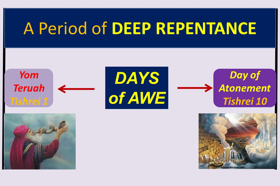 Yom Teruah Tishrei 1 Day of Atonement Tishrei 10 DAYS of AWE A Period of DEEP REPENTANCE