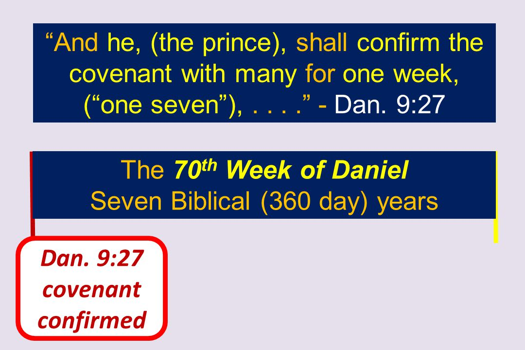 """Dan. 9:27 covenant confirmed """"And he, (the prince), shall confirm the covenant with many for one week, (""""one seven""""),...."""" - Dan. 9:27 The 70 th Week"""
