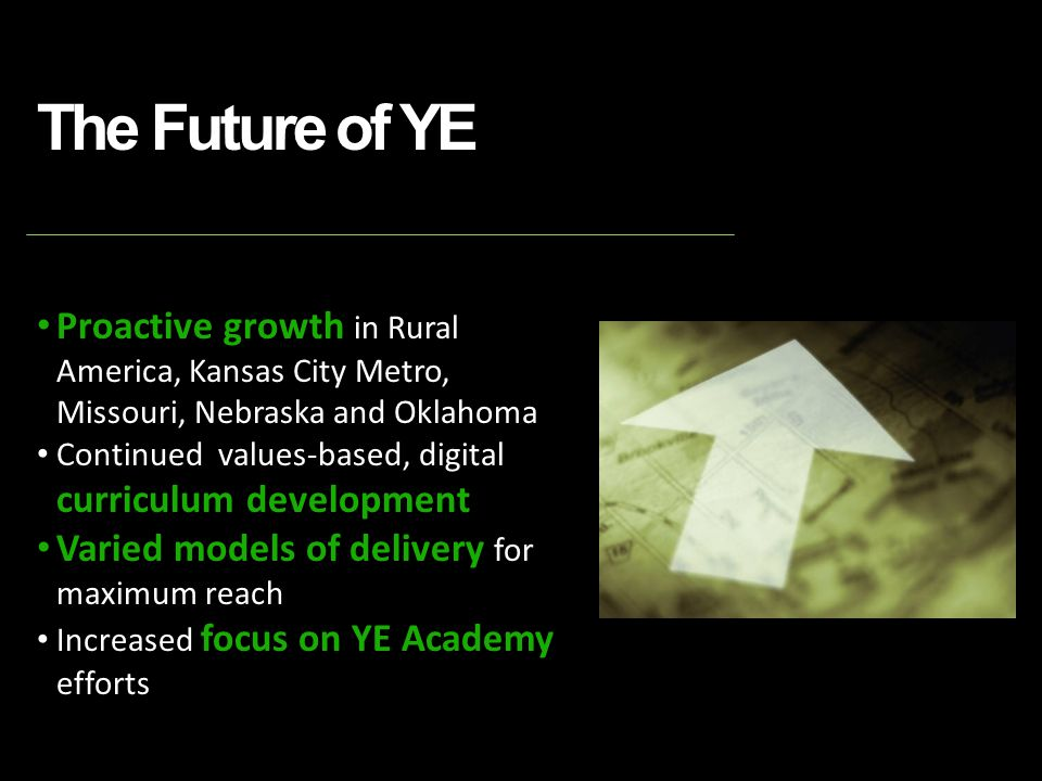 The Future of YE Proactive growth in Rural America, Kansas City Metro, Missouri, Nebraska and Oklahoma Continued values-based, digital curriculum development Varied models of delivery for maximum reach Increased focus on YE Academy efforts