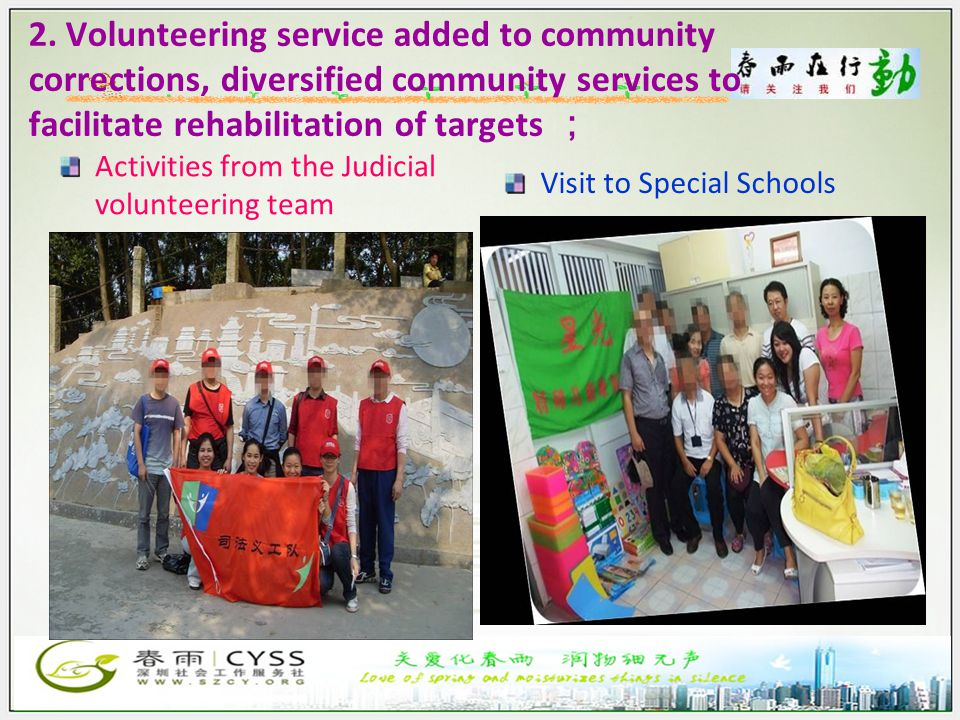 2. Volunteering service added to community corrections, diversified community services to facilitate rehabilitation of targets ; Activities from the J