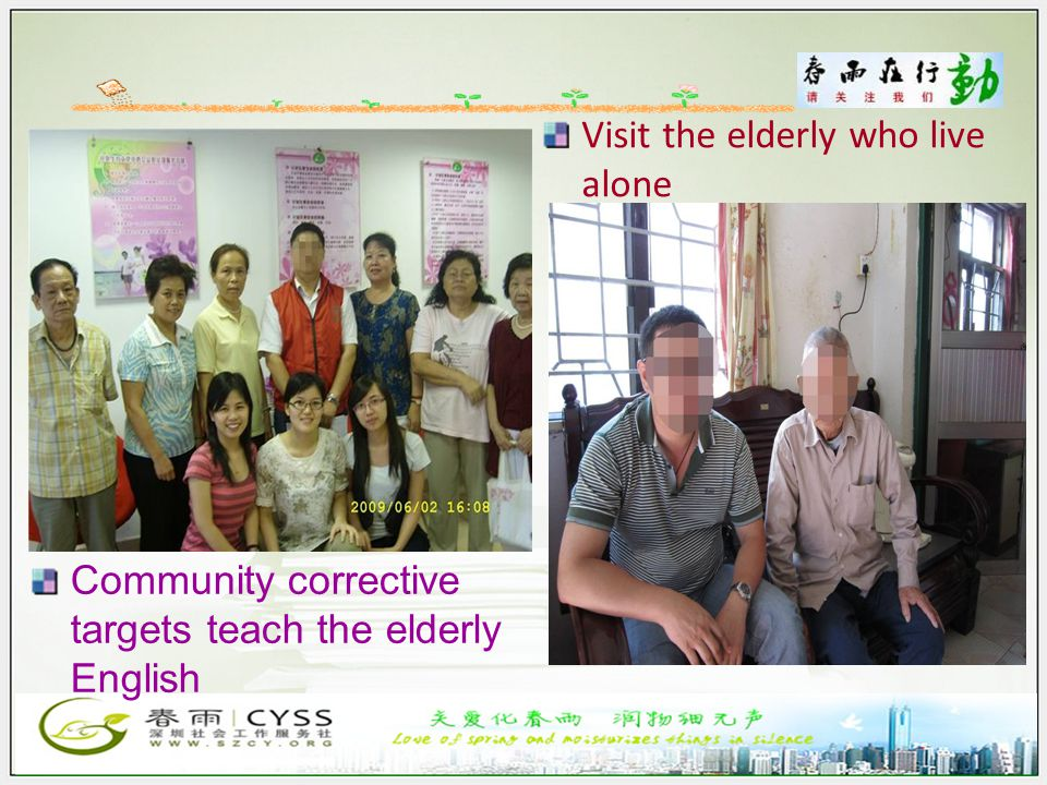 Community corrective targets teach the elderly English Visit the elderly who live alone