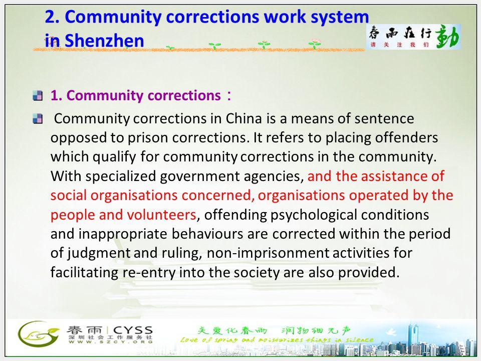 2. Community corrections work system in Shenzhen 1.