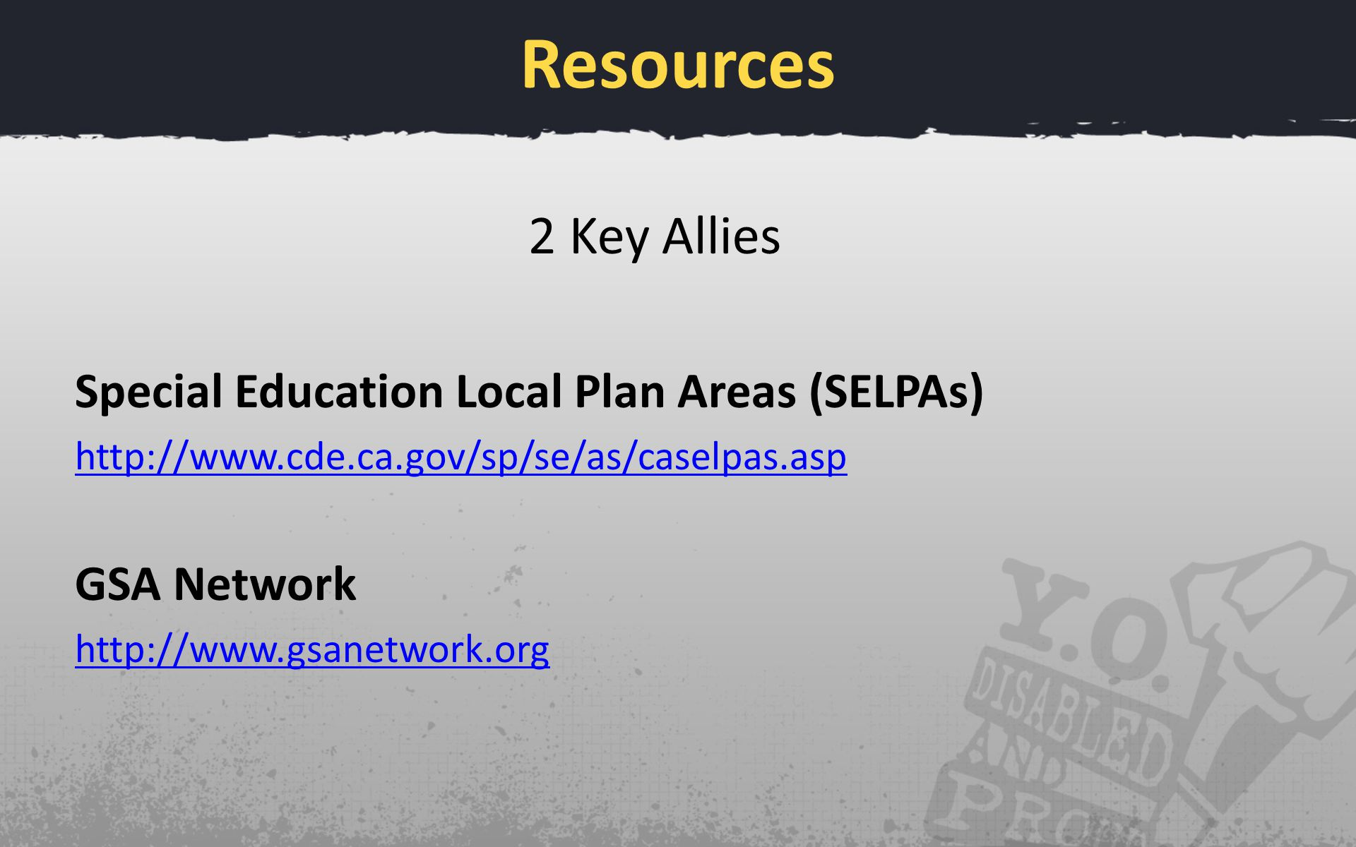 Resources 2 Key Allies Special Education Local Plan Areas (SELPAs)   GSA Network