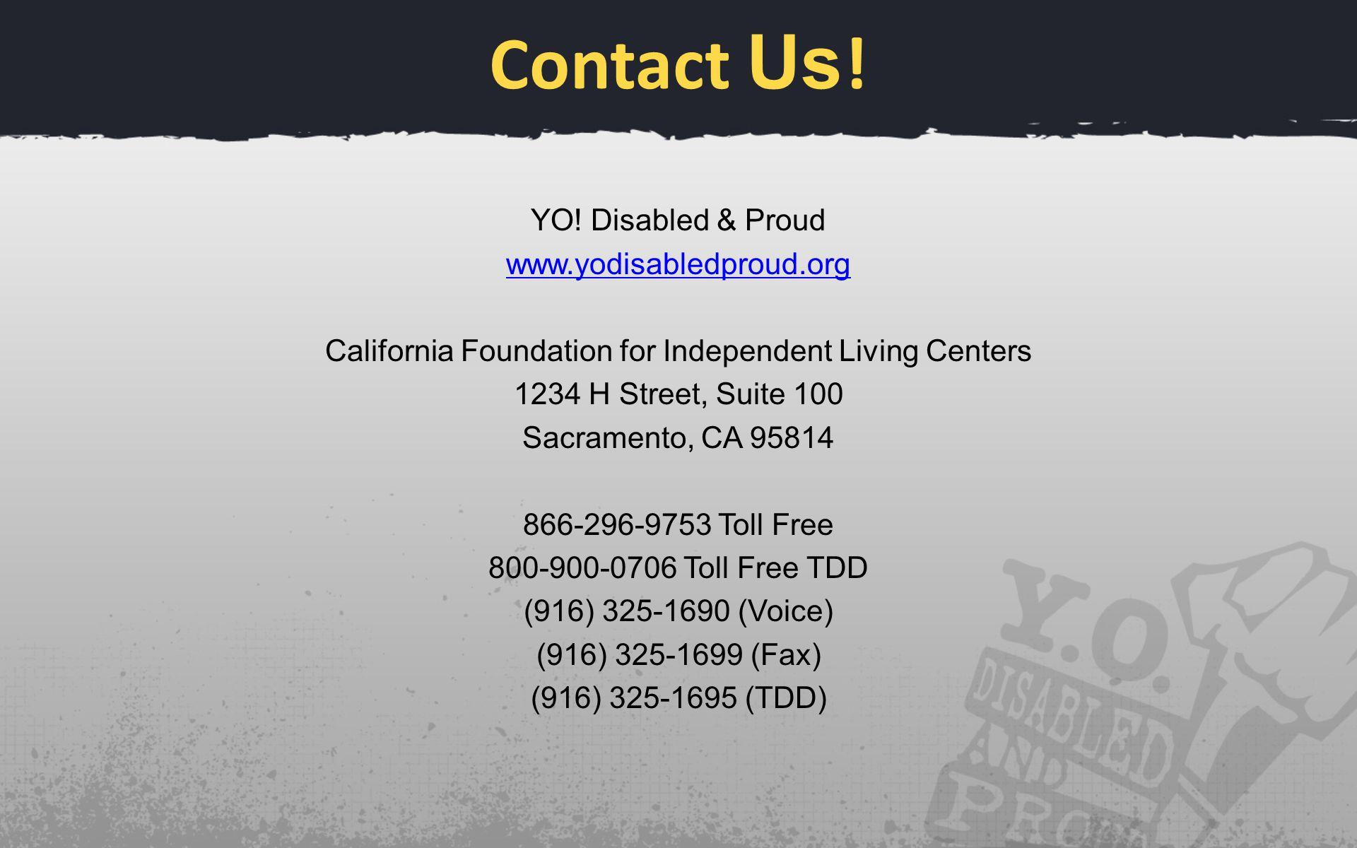 Contact Us . YO.