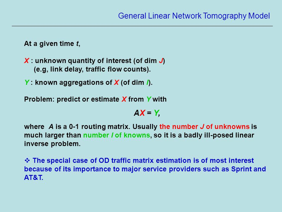 General Linear Network Tomography Model At a given time t, X : unknown quantity of interest (of dim J) (e.g, link delay, traffic flow counts).