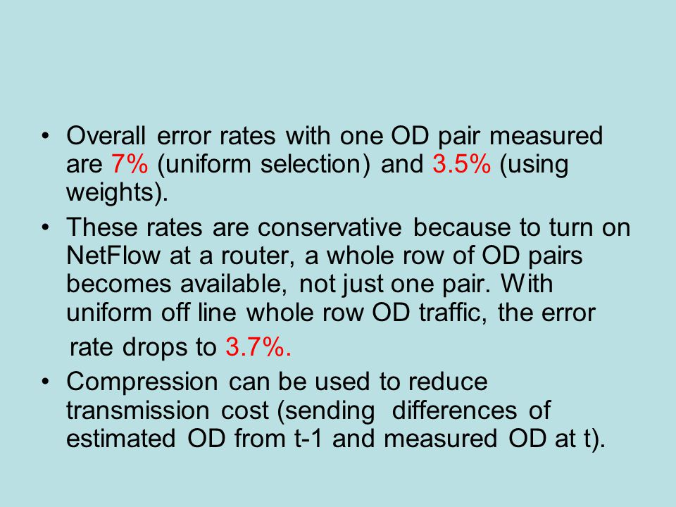 Overall error rates with one OD pair measured are 7% (uniform selection) and 3.5% (using weights).