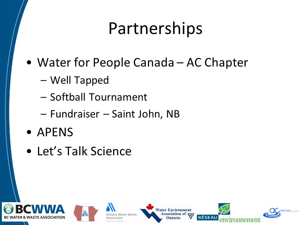 Partnerships Water for People Canada – AC Chapter –Well Tapped –Softball Tournament –Fundraiser – Saint John, NB APENS Let's Talk Science