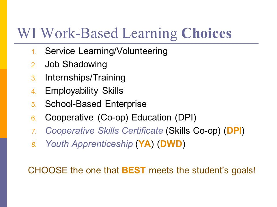 WI Work-Based Learning Choices 1. Service Learning/Volunteering 2.