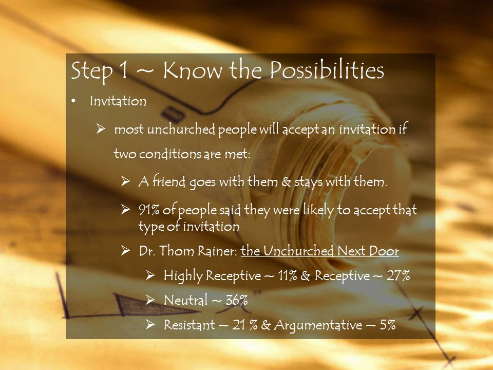 Step 1 ~ Know the Possibilities Invitation  most unchurched people will accept an invitation if two conditions are met:  A friend goes with them & stays with them.