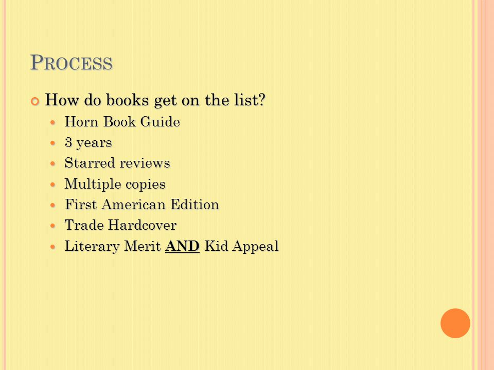 P ROCESS How do books get on the list.
