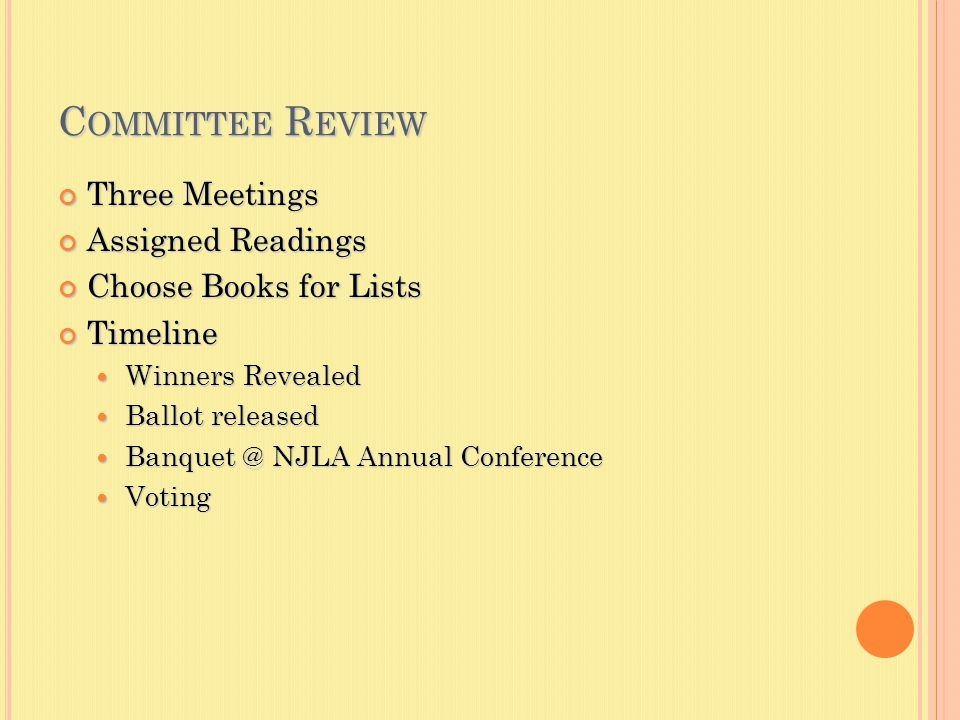 C OMMITTEE R EVIEW Three Meetings Assigned Readings Choose Books for Lists Timeline Winners Revealed Winners Revealed Ballot released Ballot released Banquet @ NJLA Annual Conference Banquet @ NJLA Annual Conference Voting Voting