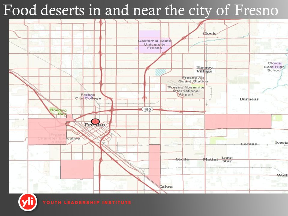 Food deserts in and near the city of Fresno
