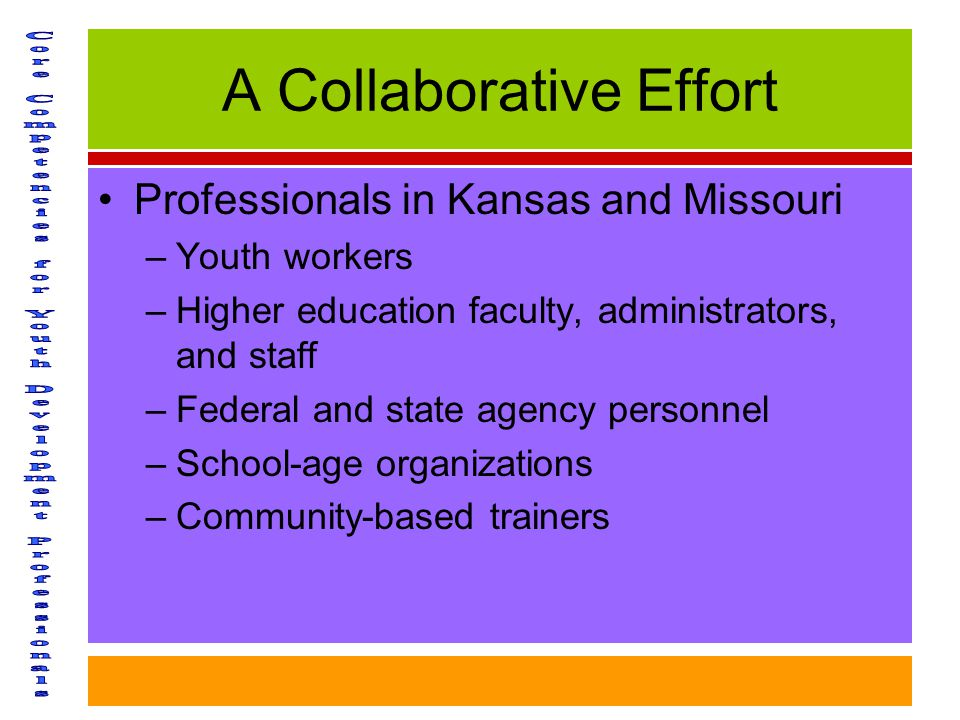 A Collaborative Effort Professionals in Kansas and Missouri –Youth workers –Higher education faculty, administrators, and staff –Federal and state agency personnel –School-age organizations –Community-based trainers