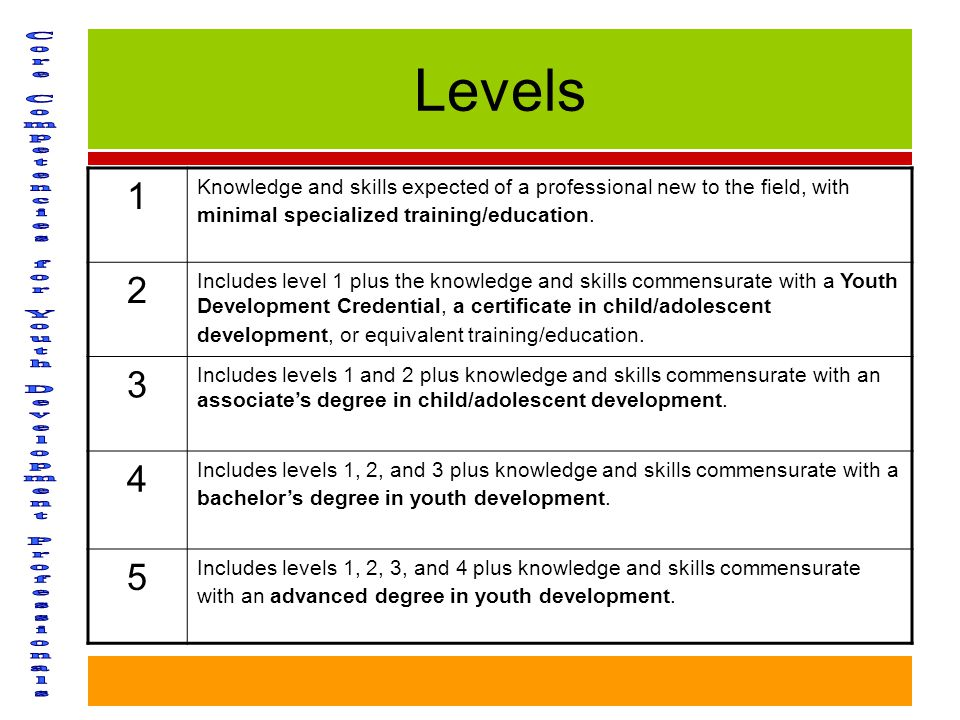 Levels 1 Knowledge and skills expected of a professional new to the field, with minimal specialized training/education.
