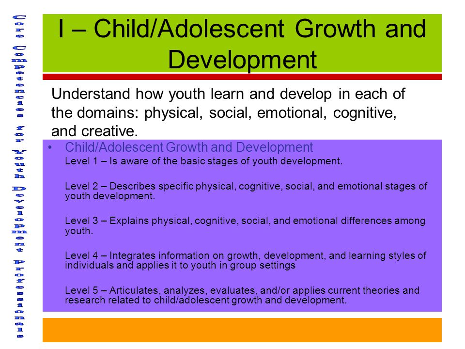 I – Child/Adolescent Growth and Development Child/Adolescent Growth and Development Level 1 – Is aware of the basic stages of youth development.