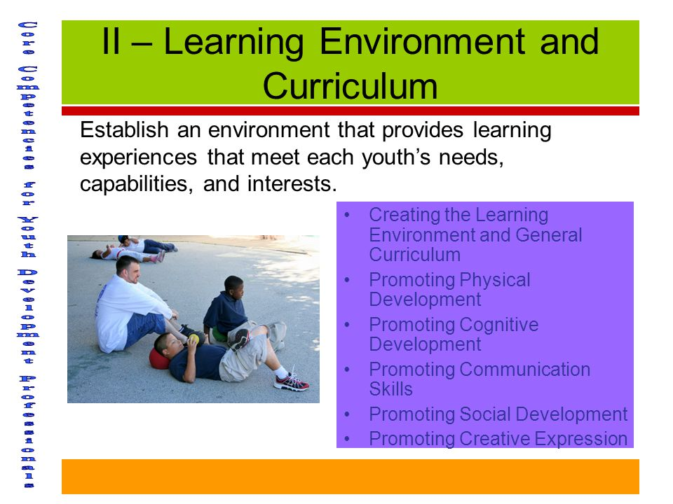 II – Learning Environment and Curriculum Creating the Learning Environment and General Curriculum Promoting Physical Development Promoting Cognitive Development Promoting Communication Skills Promoting Social Development Promoting Creative Expression Establish an environment that provides learning experiences that meet each youth's needs, capabilities, and interests.