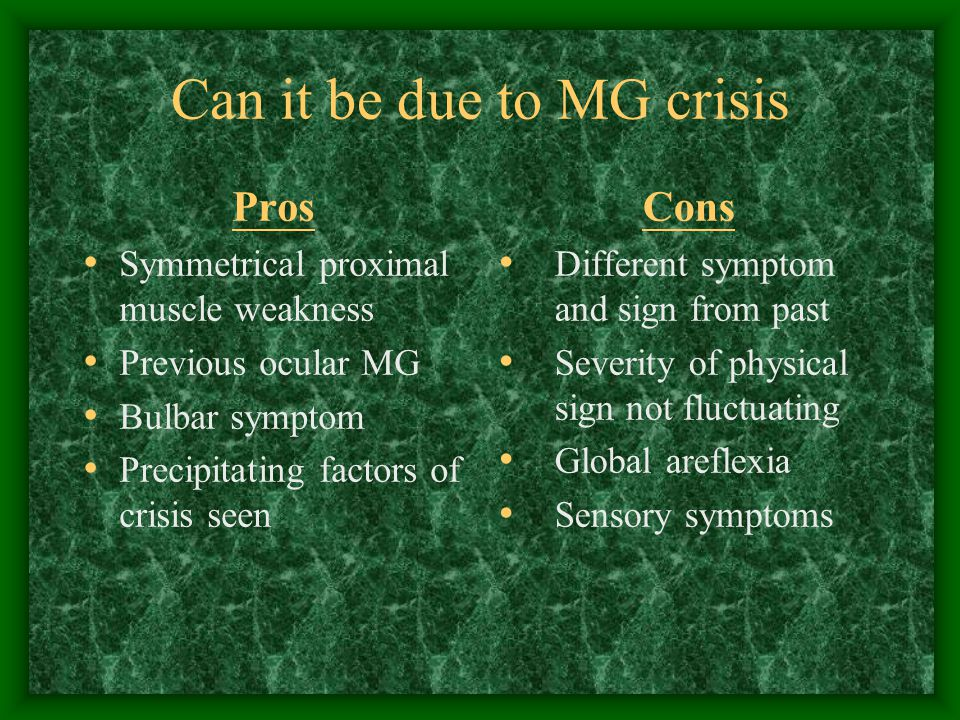 Can it be due to MG crisis Pros Symmetrical proximal muscle weakness Previous ocular MG Bulbar symptom Precipitating factors of crisis seen Cons Different symptom and sign from past Severity of physical sign not fluctuating Global areflexia Sensory symptoms