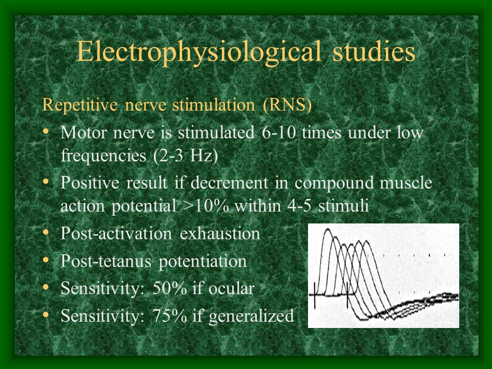 Electrophysiological studies Repetitive nerve stimulation (RNS) Motor nerve is stimulated 6-10 times under low frequencies (2-3 Hz) Positive result if decrement in compound muscle action potential >10% within 4-5 stimuli Post-activation exhaustion Post-tetanus potentiation Sensitivity: 50% if ocular Sensitivity: 75% if generalized