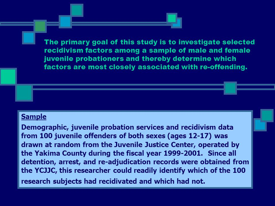 Sample Demographic, juvenile probation services and recidivism data from 100 juvenile offenders of both sexes (ages 12-17) was drawn at random from th