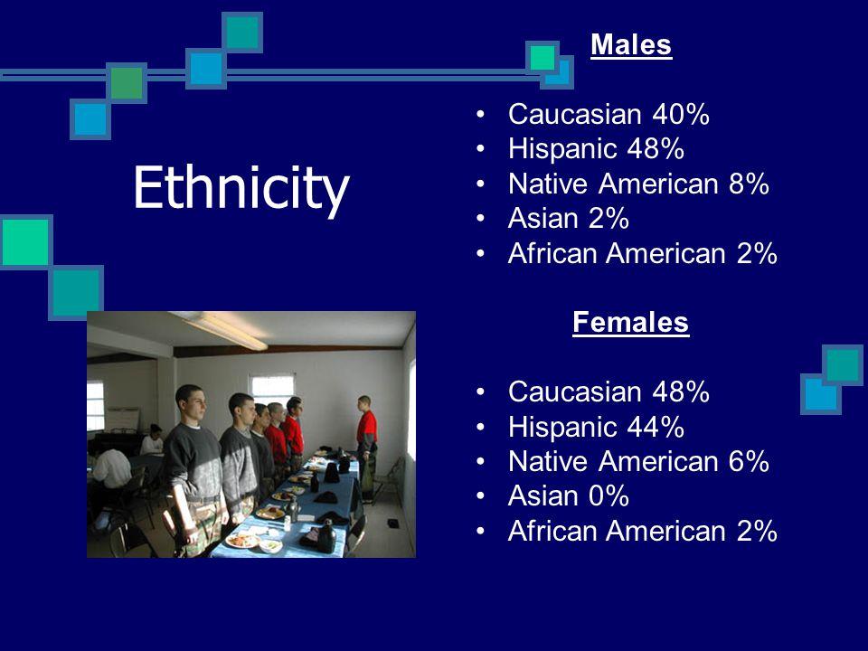 Ethnicity Males Caucasian 40% Hispanic 48% Native American 8% Asian 2% African American 2% Females Caucasian 48% Hispanic 44% Native American 6% Asian