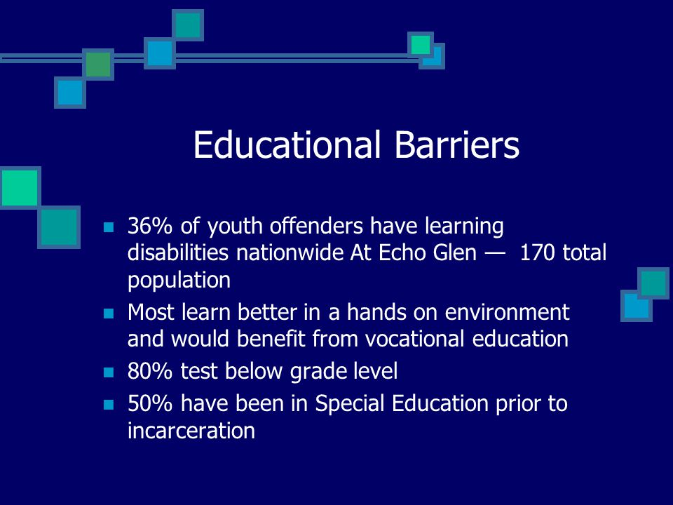 Educational Barriers 36% of youth offenders have learning disabilities nationwide At Echo Glen — 170 total population Most learn better in a hands on environment and would benefit from vocational education 80% test below grade level 50% have been in Special Education prior to incarceration