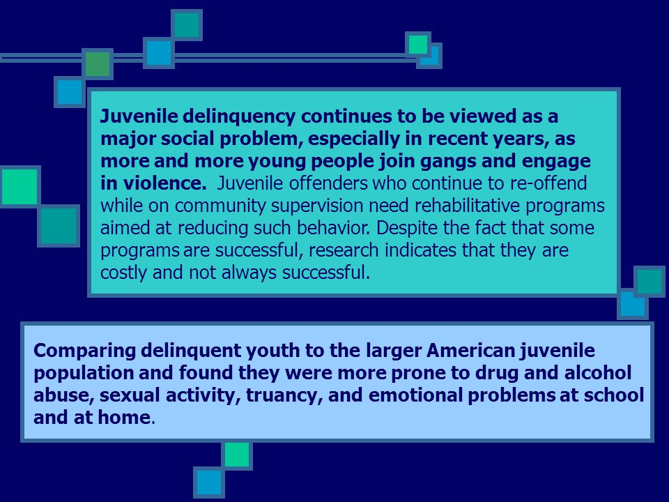 Juvenile delinquency continues to be viewed as a major social problem, especially in recent years, as more and more young people join gangs and engage in violence.
