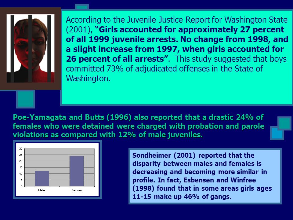"""According to the Juvenile Justice Report for Washington State (2001), """"Girls accounted for approximately 27 percent of all 1999 juvenile arrests. No c"""