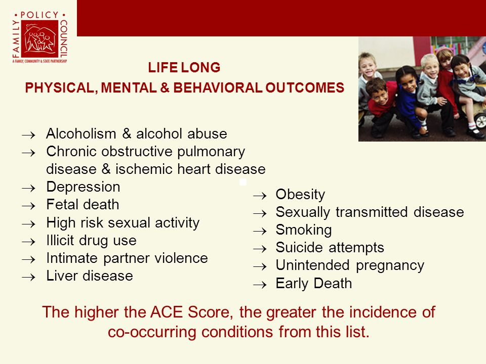  Alcoholism & alcohol abuse  Chronic obstructive pulmonary disease & ischemic heart disease  Depression  Fetal death  High risk sexual activity 